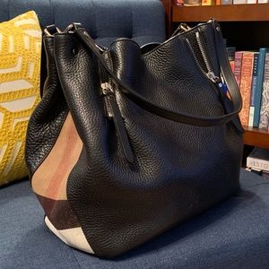 Burberry Maidstone Tote Black Leather Canvas Check